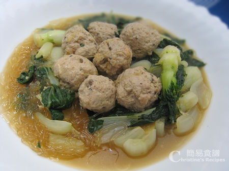 白菜粉絲煮肉丸 Fried Bok Choy with Meat Balls