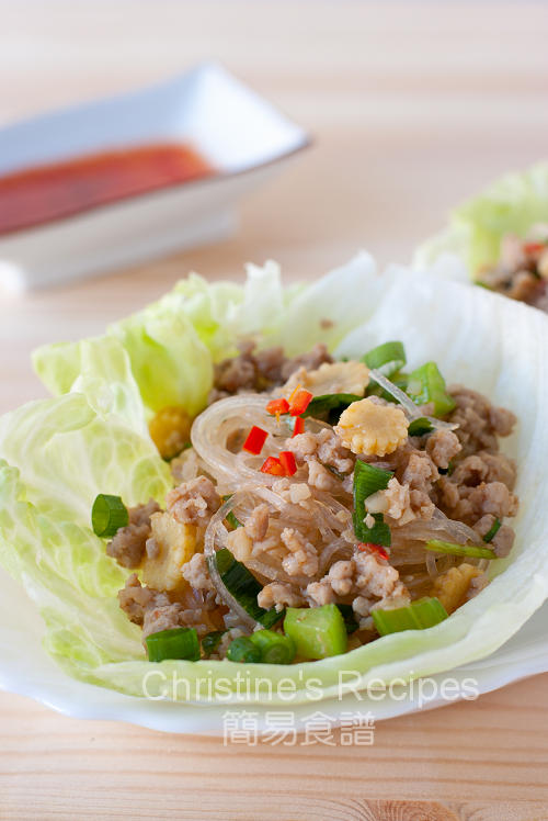 香辣肉鬆粉絲生菜包 Spicy Pork Mince and Noodles in Crisp Lettuce Cups01