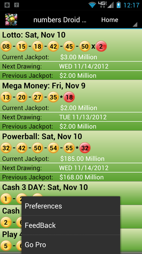 Kentucky Lottery Droid Lite - screenshot