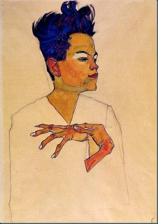Schiele - Self Portrait With Hands On Chest