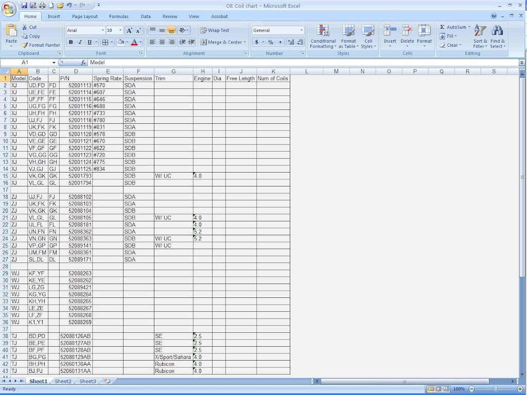 sda sdb_Ultimate OEM spring rates and codes chart - MJ Tech: Modification and Repairs ...