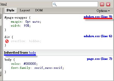 使用 Firebug 檢視 CSS 套用結果