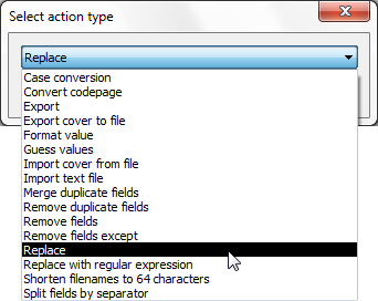 Figure 1 – Options available through the Actions menu button