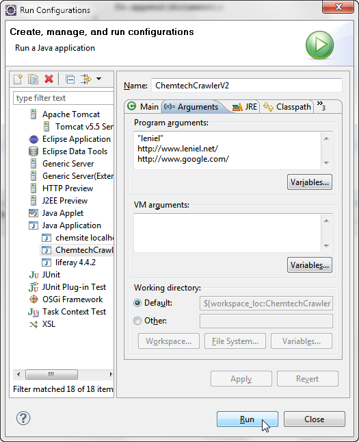 Java Crawler Run Configuration in Eclipse