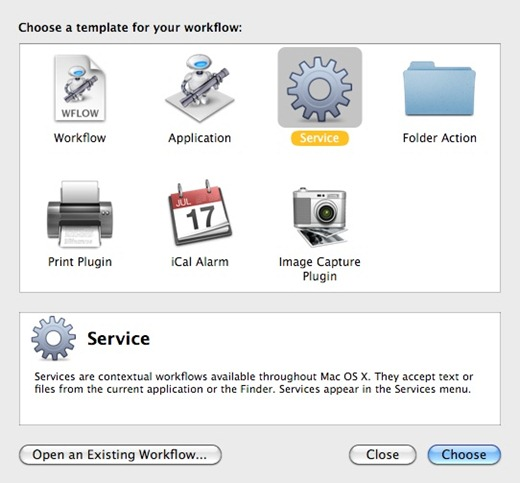 Types of templates available to create an Automator workflow