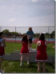 Alexis receiving her award at Special Olympics.