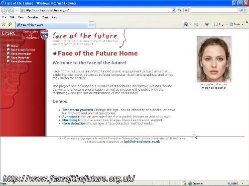 la homepage de La mia faccia nel futuro - Face of the future