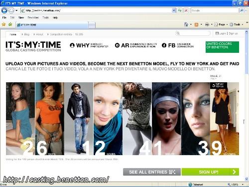 L'homepage del casting di Benetton