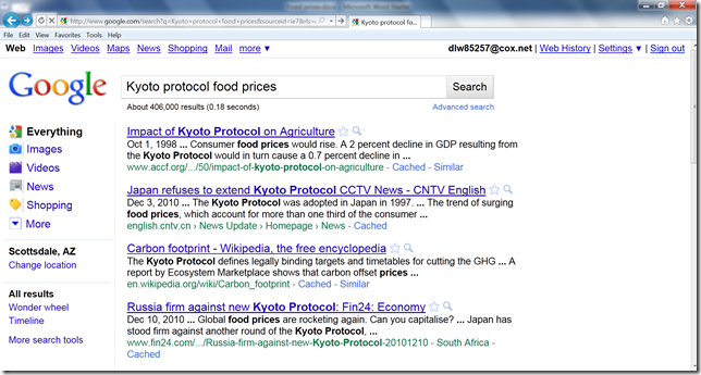 Food prices screen shot