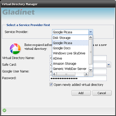 Gladinet Cloud Desktop Virtual Directory Manager Selects Google Picasa