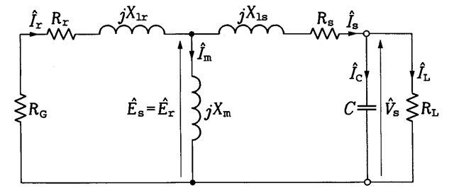 per-phase equivalent circuit of the stand-alone induction generator
