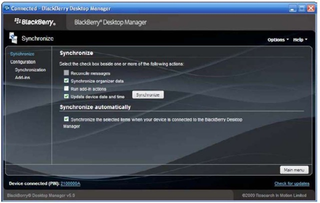 BlackBerry Desktop Manager,Preparing your PC for PIM