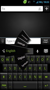 GO Keyboard Black Green Theme - screenshot thumbnail