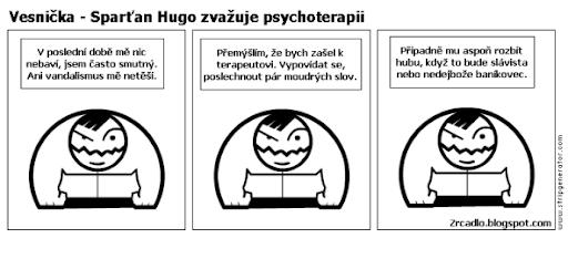 Komiks Vesnička - Hugo zvažuje podstoupení psychoterapie