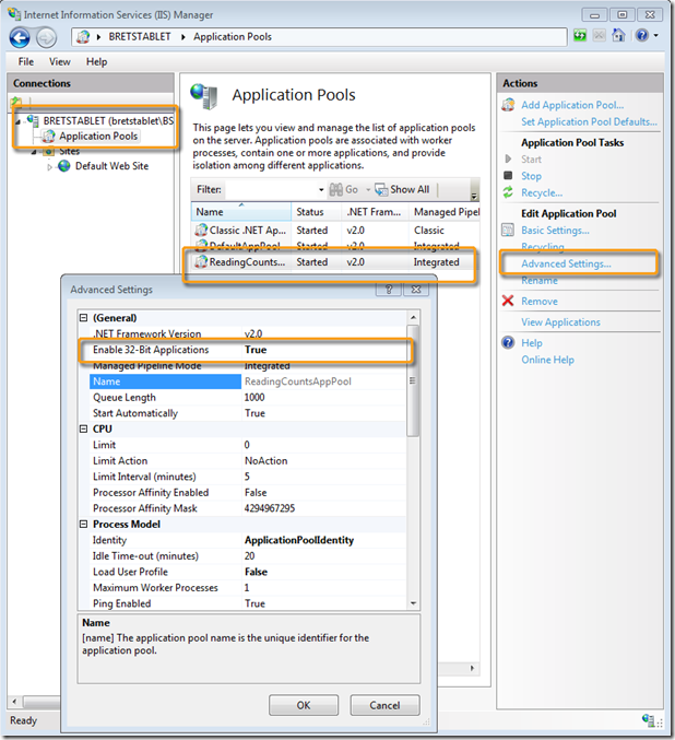 Configuring IIS on 64Bit Windows 7 to Work with the Access 2007