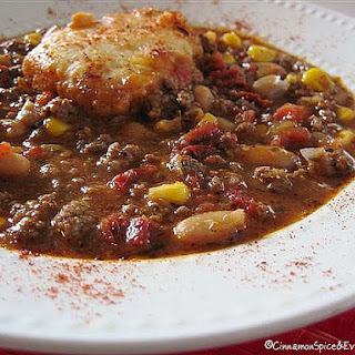 Sun-Dried Tomato Chili with Cornbread Dumplings