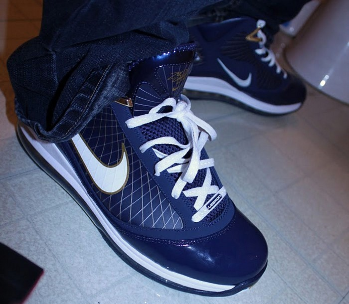45c2b59af48 375664-400 Midnight Navy White-Metallic Gold. After the Drop Nike Air Max  LeBron VII 8220Akron Zips8221 Close Ups ...