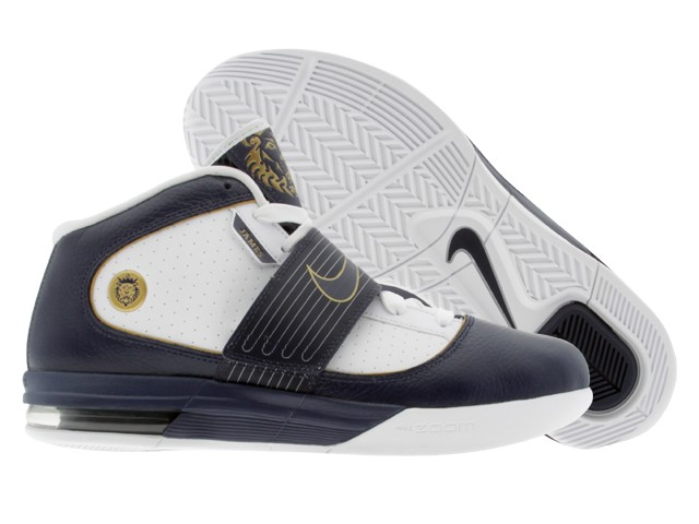 fb2287ce149e7 ... LeBron8217s Nike Zoom Soldier IV WhiteNavyGold Detailed Look ...