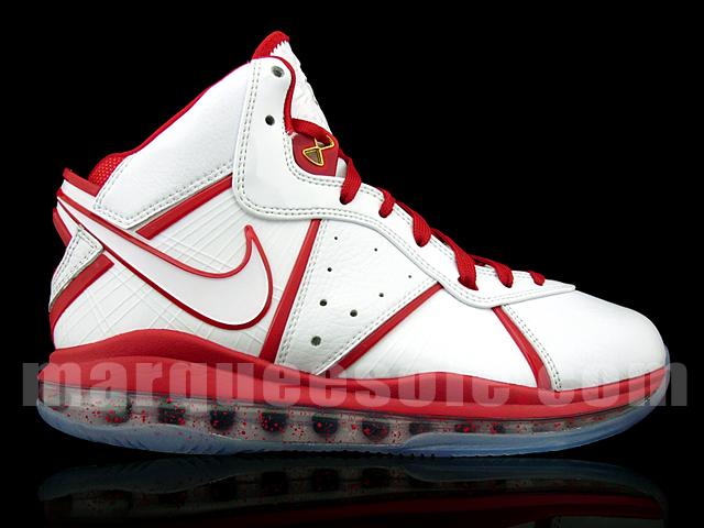 1c10b068a56f Nike Air Max LeBron 8 8211 White amp Red China Alternate Miami Heat ...