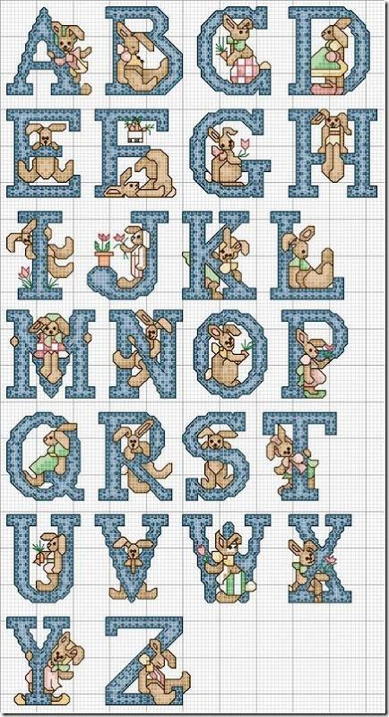 Alfabeto Conejos en punto de cruz