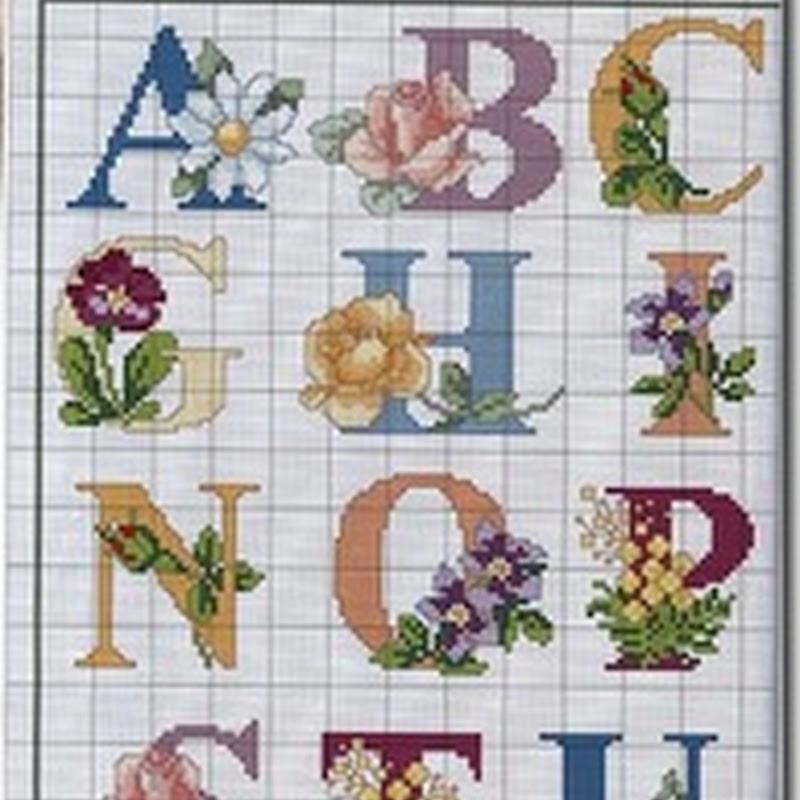 Abecedarios punto de cruz frutas y flores