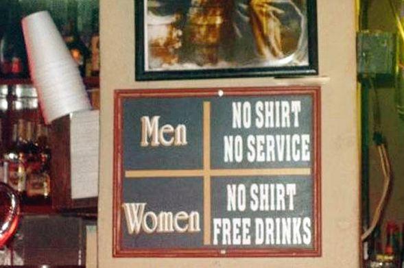 女人不穿衣服免费喝,男人不穿衣服没得喝