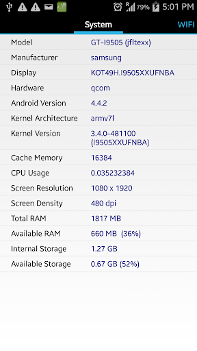 Phone Specs CPU-Z Hardware
