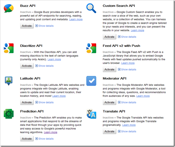 Google Code API Console – Nicely Done