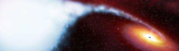 Buraco negro engolando uma enorme quantidade de massa.