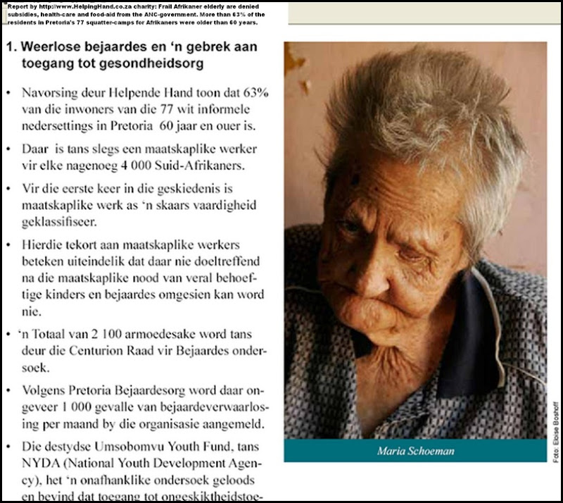 Afrikaner poor Maria Schoeman elderly whites malnourished in