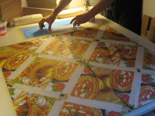 Gluing the linen strips.