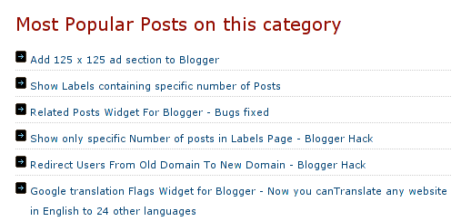 related posts widget list view