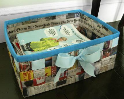 manualidad con papel de periodico o revistas para hacer una cesta