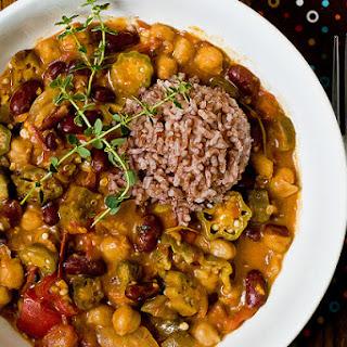 Okra Gumbo With Chickpeas & Kidney Beans.