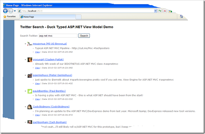 A 10 minute ASP NET MVC Twitter Search App – Using a Duck