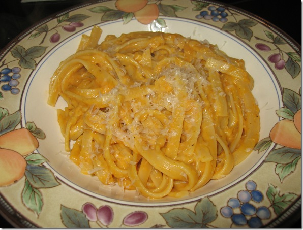 Pumpkin Pasta - Pasta flavored with pumpkin and both gouda and parmesan cheeses is the perfect fall meal. VirginiaSweetPea.com