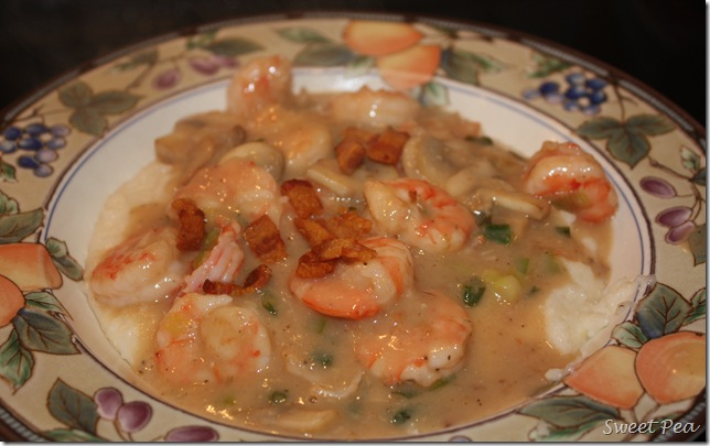 Shrimp and Grits - Cheese grits topped with this shrimp concoction is heaven in your mouth! virginiasweetpea.com