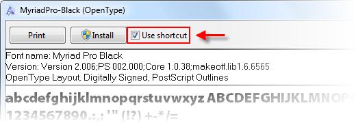 """在 Windows7 上安装字体快捷方式:勾选""""use shortcut"""""""