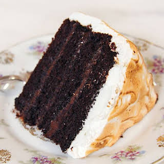 Chocolate Cake with Malted Chocolate Ganache and Toasted Marshmallow Frosting.