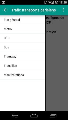 Trafic transports parisiens