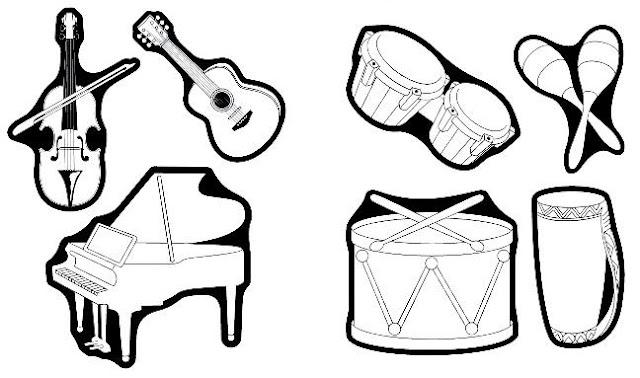 Dibujos De Instrumentos Musicales Para Imprimir Y Colorear: DIBUJOS PARA COLOREAR DE INSTRUMENTOS DE MUSICA