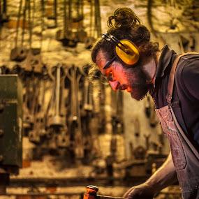 The Blacksmith by Barrington Dent - People Professional People ( blacksmith, hot, hammer )