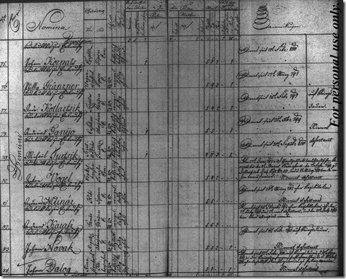 Andras Kotlartsik Military Record in 1804