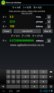 Ohms Law Calculator screenshot