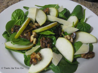 Baby Spinach Salad with Warm Olive Oil, Walnuts, and Comice Pears | Taste As You Go