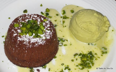 Chocolate Flan with Pistachio Gelato - Photo by Taste As You Go
