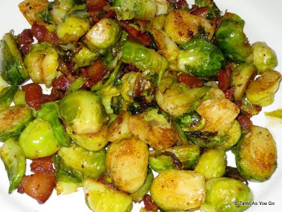 Roasted Brussels Sprouts with Bacon - Photo by Taste As You Go