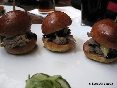 Duck Sliders with Kim Chi and Sweet Hoisen and Namasu Pickles at West 3rd Common in New York, NY - Photo by Taste As You Go