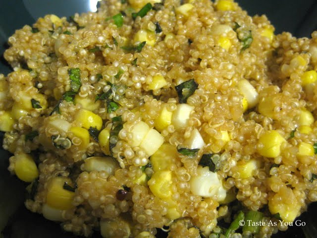 Quinoa with Corn, Scallions, and Mint | Taste As You Go