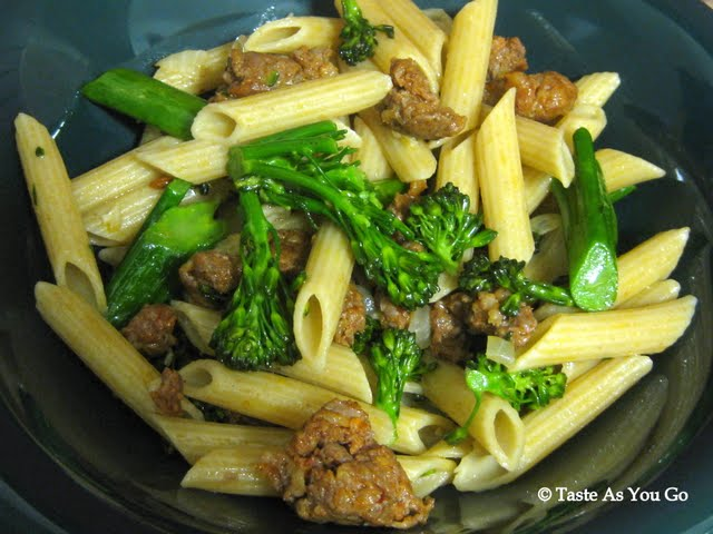 Whole Wheat Penne with Sausage and Broccolini | Taste As You Go